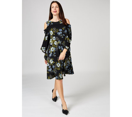 Printed Cold Shoulder Trapeze Dress with Solid Yoke Panel by Nina Leonard