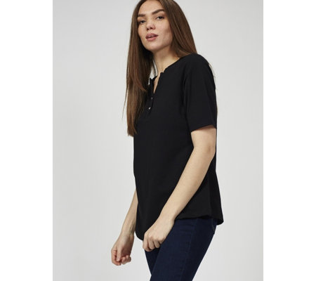 Denim & Co. Perfect Jersey Split Round Neck Top