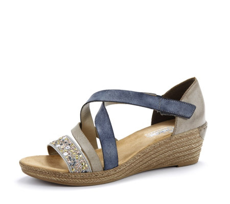 Rieker Cross Strap Wedge Sandal