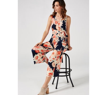 Together Printed Jumpsuit Waist Tie and Pocket