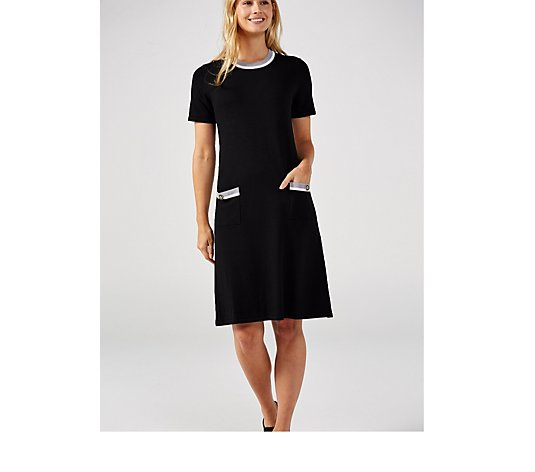 Antthony Designs Boat Neck Dress with Pockets