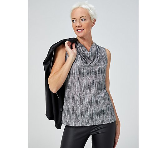 Mr Max Sleeveless Foiled Rib Soft Drape Neck Top
