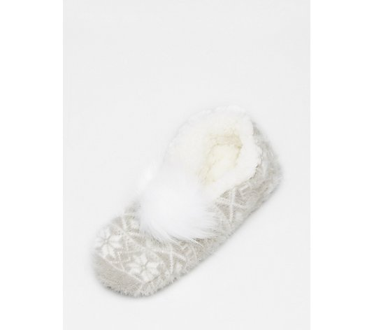 Muk Luks Pom Pom Ballerina Slippers With Gift Bag