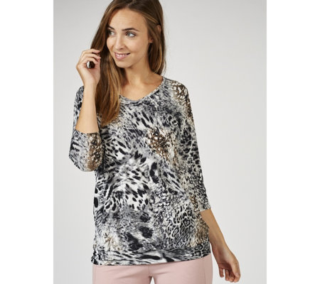 Kim & Co Printed Brushed Venechai Dolman Sleeve Tunic