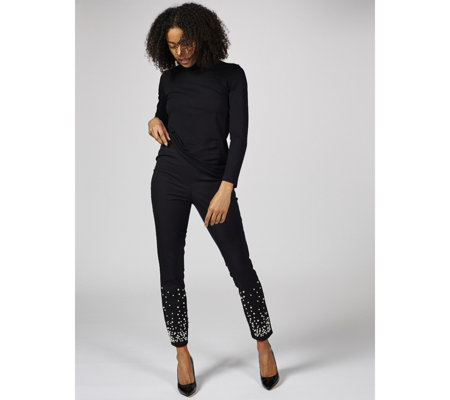 Isaac Mizrahi Live Slim Pull On Ankle Trousers with Faux Pearls