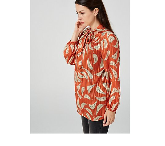 Outlet Together Metallic Foil Printed Neck Tie Blouse