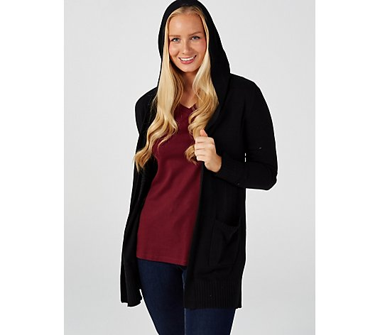 isaac Mizrahi Live Border Stitch Hooded Open Front Cardigan