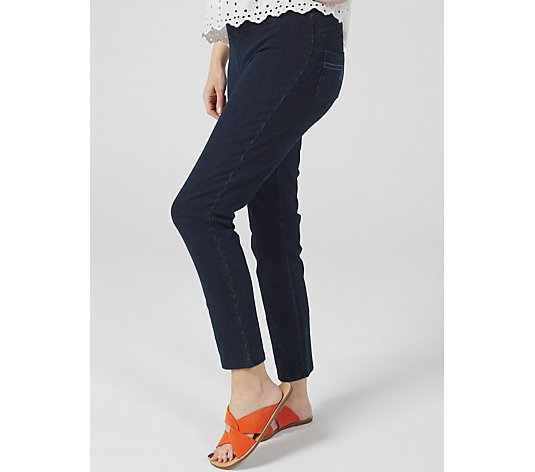 Women with Control Prime Stretch Denim Straight Leg Pant Petite