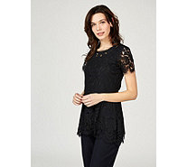 Isaac Mizrahi Live Lace Short Sleeve Scallop Hem Peplum Top - 162911