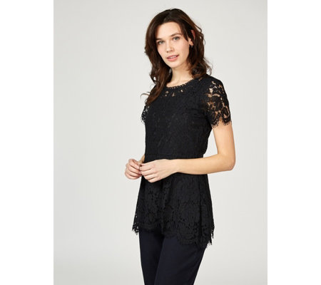 Isaac Mizrahi Live Lace Short Sleeve Scallop Hem Peplum Top
