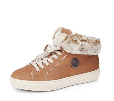 Rieker Faux Fur Collar Lace Up High Top Trainer