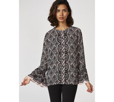 Bob Mackie Long Sleeve Lace Print Blouse with Ruffle Cuffs