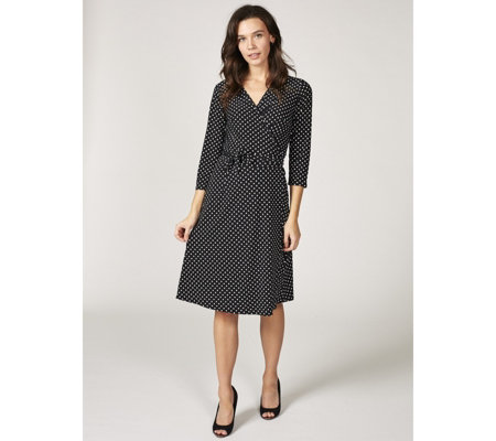 Grace 3/4 Sleeve Mock Wrap Dress