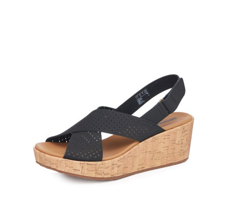 Clarks Laser Cut Leather Wedge Sandal Standard Fit
