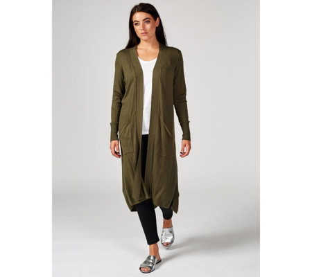 H by Halston Edge to Edge High Low Hem Duster Cardigan Regular