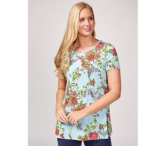 Kim & Co Lacey Floral Venechia Short Sleeve Tunic