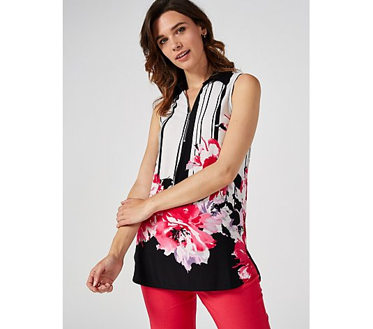 Mr Max Striped Floral Placement Sleeveless Blouse