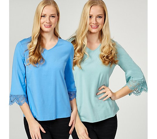 Outlet Denim & Co. Pack of 2 Lace Cuff Detail Tops