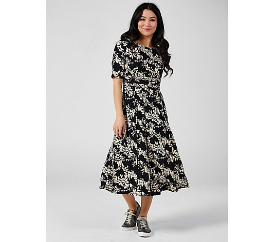 Perceptions Elbow Sleeve Midi Dress with Ruching Detail
