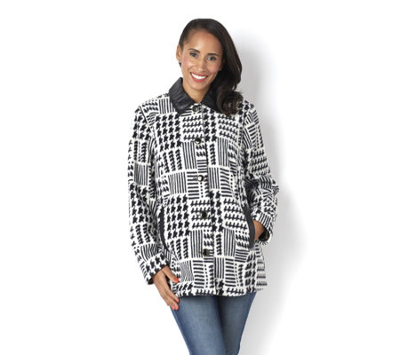 Bob Mackie Printed Fleece Jacket with Faux Leather Detail