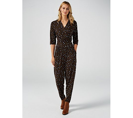 Kim & Co Brazil Jersey Lips Print 3/4 Sleeve Crossover Jumpsuit