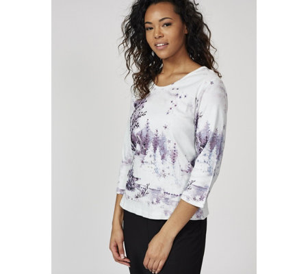 Artscapes Winter Village Print Top with 3/4 Sleeve