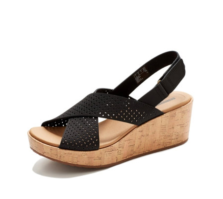 Clarks Laser Cut Leather Wedge Sandal Wide Fit