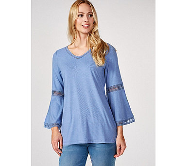 Isaac Mizrahi Live Bell Sleeve Tunic with Hi Lo Hem & Lace Trim Detail - 171812