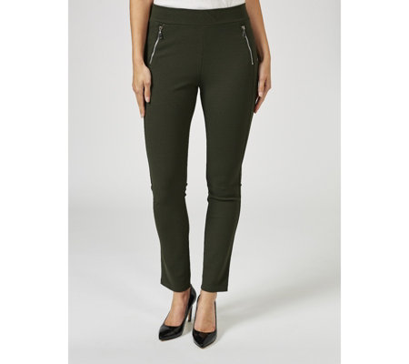 Kim & Co Ponte Crepe Jersey Zip Detail Skinny Regular Trousers