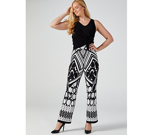 Mr Max Printed Monochrome Wide Leg Trousers