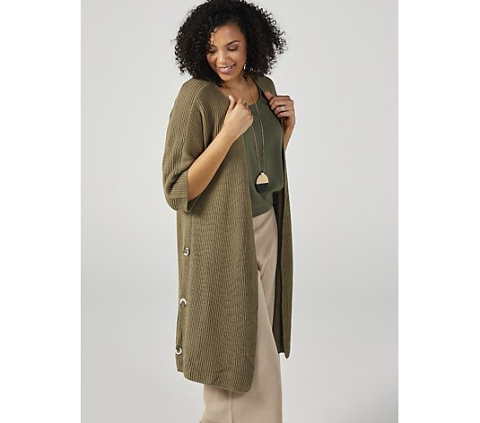 MarlaWynne Dolman Sleeve Duster with Functional Button Detail