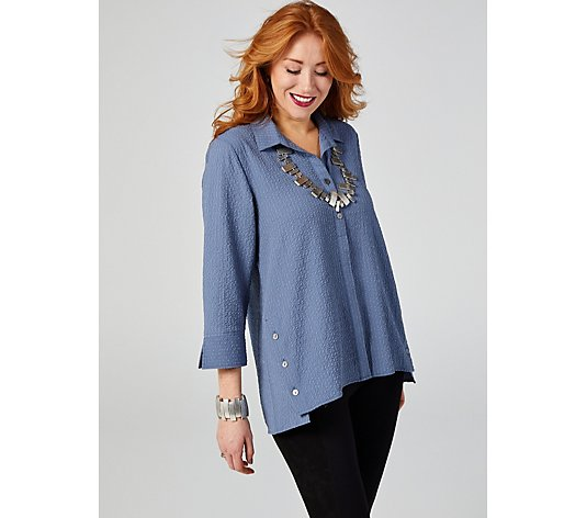 MarlaWynne Running Stitch Stretch Shirt with Button Detail