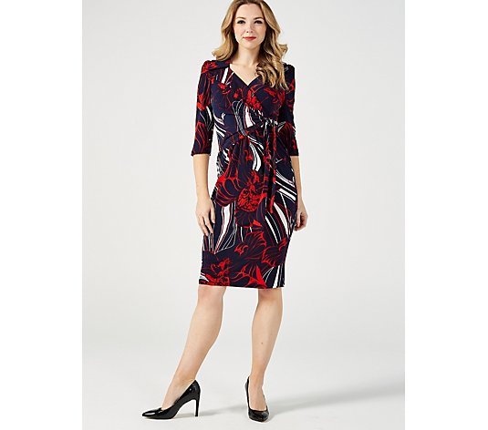 J by Jolie Moi Wrap Knee Length Dress with Tie Side Detail