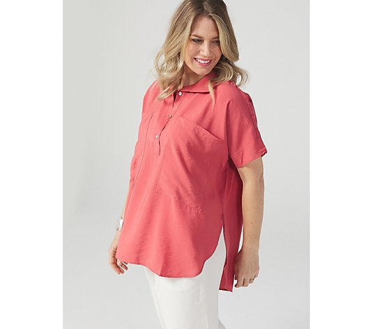 WynneLayers Hamptons Boyfriend Shirt with Curved Hem