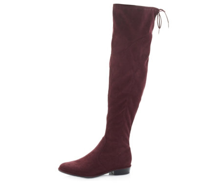 Marc Fisher Hulle Over The Knee Fabric Boot with Flat Heel