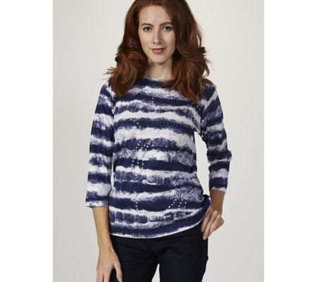 Artscapes Stripe Tie Dye 3/4 Sleeve Round Neck Top
