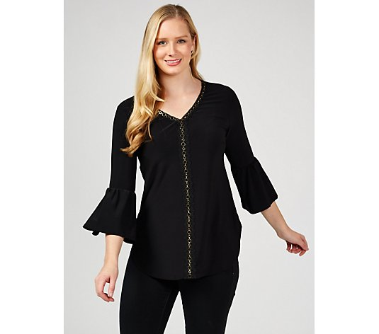 Bell Sleeve Top with Lace  Ring Detail by Nina Leonard
