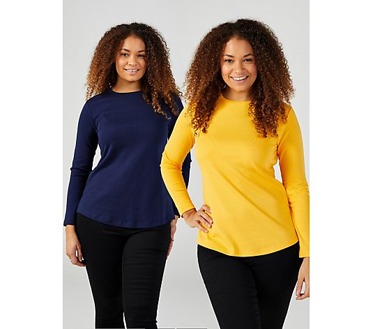 Isaac Mizrahi Live Essentials Crew Neck 2 Pack Long Sleeve Tops