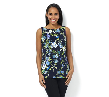 Floral Print Liquid Knit Sleeveless Top by Susan Graver