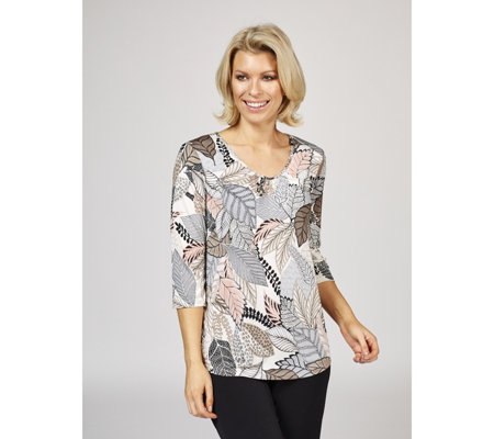 Kim & Co Leaf Collage Textured Venechia 3/4 Sleeve V Neck Top