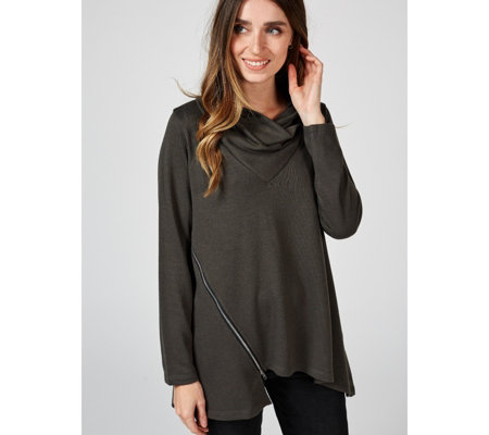 Yong Kim Long Sleeve Wrap Neck Asymmetric Hem Zip Detail Jumper