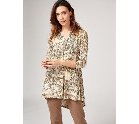 Attitudes by Renee Printed Como Jersey Collared Tunic