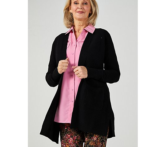 Isaac Mizrahi Live Textured Stitch Cardigan with Pockets