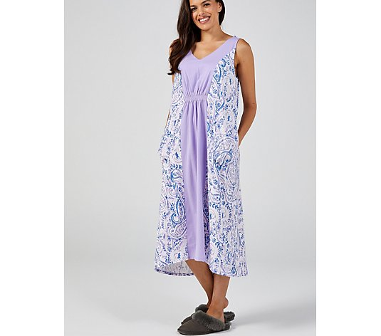 Carole Hochman Printed Maxi Gown with Hi Lo Hem Regular