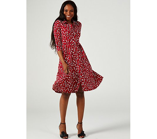 J by Jolie Moi Printed Knee Length Shirt Dress