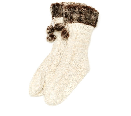Muk Luks Faux Fur Cuffed Socks with Pom Pom