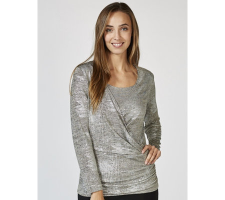 Mr Max Reflection Knit Long Sleeve Top with Cross Over Detail