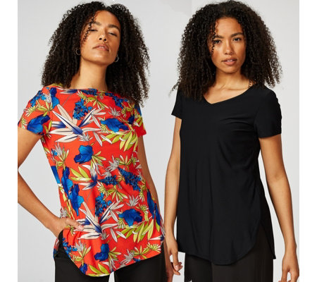 Antthony Designs Pack of 2 Plain and Printed Tops with Curved Hem