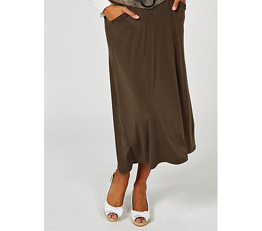 Kim & Co Brazil Jersey High Low Skirt with Pockets