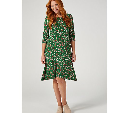 Kim & Co Printed Brazil Jersey 3/4 Sleeve Swing Dress